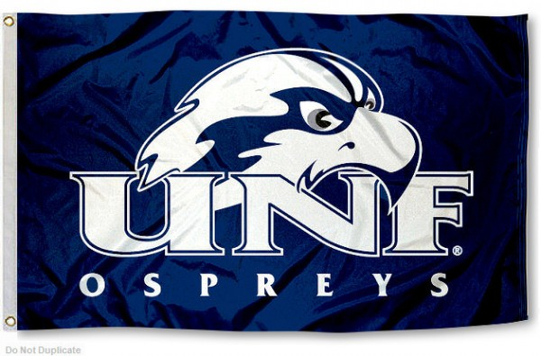 UNF Ospreys Flag measures 3'x5', is made of 100% poly, has quadruple stitched sewing, two metal grommets, and has double sided University of North Florida logos. Our UNF Ospreys Flag is officially licensed by the selected university and the NCAA.