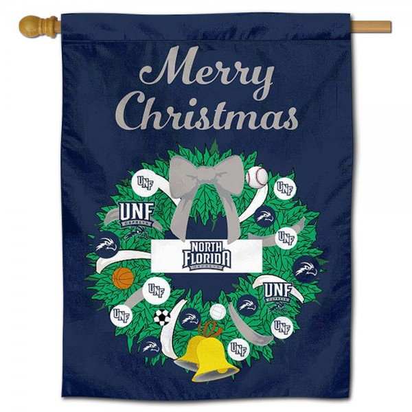 UNF Ospreys Happy Holidays Banner Flag measures 30x40 inches, is made of poly, has a top hanging sleeve, and offers dye sublimated UNF Ospreys logos. This Decorative UNF Ospreys Happy Holidays Banner Flag is officially licensed by the NCAA.