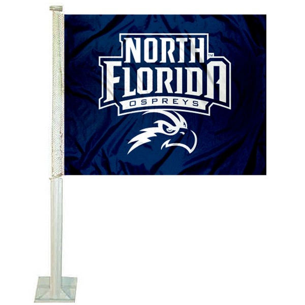 UNF Ospreys Logo Car Flag measures 12x15 inches, is constructed of sturdy 2 ply polyester, and has screen printed school logos which are readable and viewable correctly on both sides. UNF Ospreys Logo Car Flag is officially licensed by the NCAA and selected university.