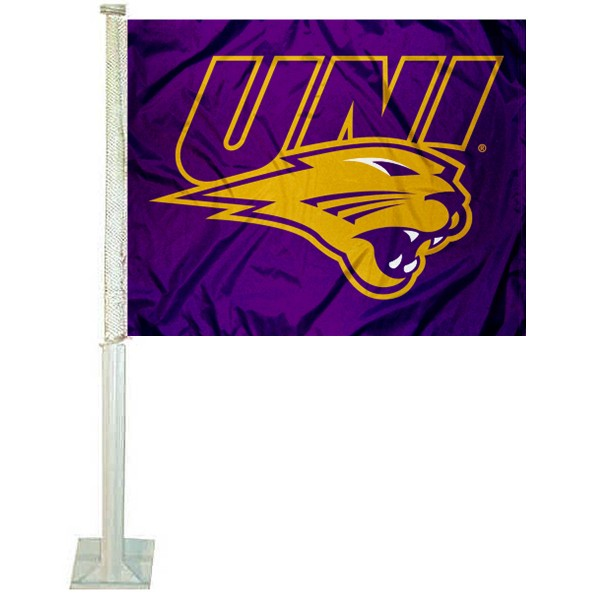 UNI Panthers Car Flag measures 12x15 inches, is constructed of sturdy 2 ply polyester, and has screen printed school logos which are readable and viewable correctly on both sides. UNI Panthers Car Flag is officially licensed by the NCAA and selected university.