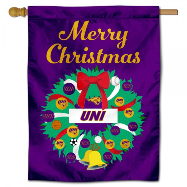 UNI Panthers Happy Holidays Banner Flag measures 30x40 inches, is made of poly, has a top hanging sleeve, and offers dye sublimated UNI Panthers logos. This Decorative UNI Panthers Happy Holidays Banner Flag is officially licensed by the NCAA.