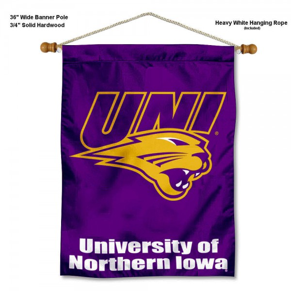 "UNI Panthers Wall Banner is constructed of polyester material, measures a large 30""x40"", offers screen printed athletic logos, and includes a sturdy 3/4"" diameter and 36"" wide banner pole and hanging cord. Our UNI Panthers Wall Banner is Officially Licensed by the selected college and NCAA."