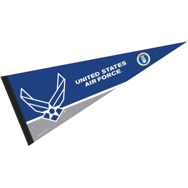 United States Air Force Insignia Seal Pennant is 12x30 inches, is made of wool and felt, has a pennant stick sleeve, and the United States Air Force logos are single sided screen printed. Our United States Air Force Insignia Seal Pennant is licensed by the university.