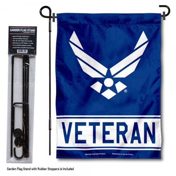 "United States Air Force Veteran Garden Flag and Stand kit includes our 12""x18"" garden banner which is made and assembled in the USA, is made of 1 ply poly, and has screen printed licensed logos. Also, a 40""x17"" inch garden flag stand is included so your United States Air Force Veteran Garden Flag and Stand is ready to be displayed with no tools needed for setup. Fast Overnight Shipping is offered and the flag is Officially Licensed and Approved by the selected team."