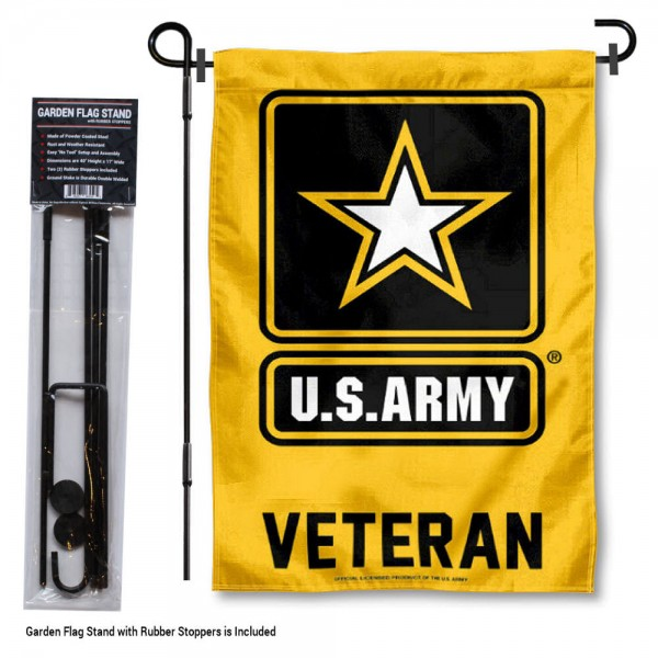 "United States Army Veteran Garden Flag and Stand kit includes our 12""x18"" garden banner which is made and assembled in the USA, is made of 1 ply poly, and has screen printed licensed logos. Also, a 40""x17"" inch garden flag stand is included so your United States Army Veteran Garden Flag and Stand is ready to be displayed with no tools needed for setup. Fast Overnight Shipping is offered and the flag is Officially Licensed and Approved by the selected team."