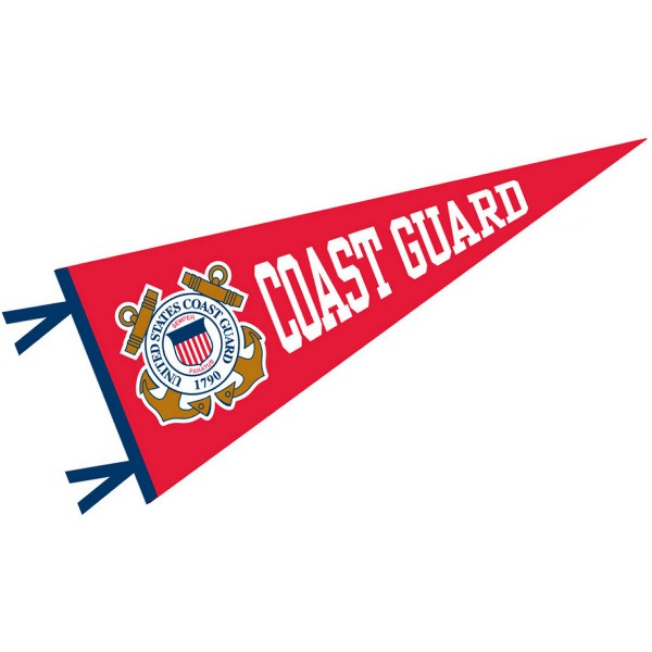 United States Coast Guard Wool Pennant measures 12x30 inches, is made of wool, and the NCAA team logos are printed with raised lettering. Our United States Coast Guard Wool Pennant is officially licensed by the NCAA, selected university, or institution.