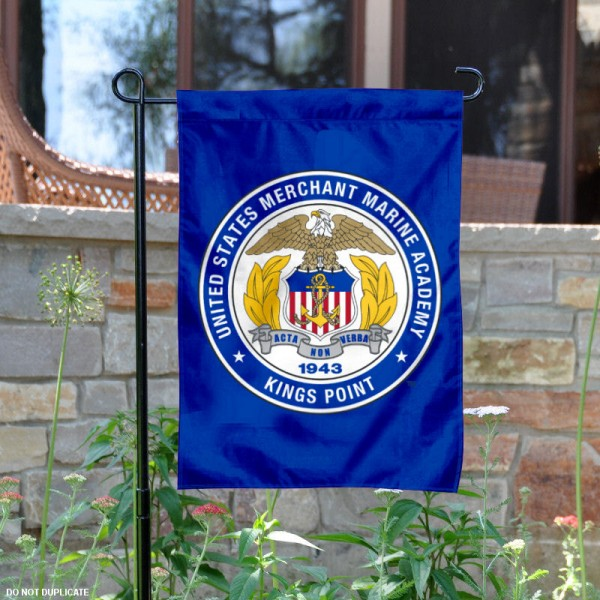 United States Merchant Marine Academy Garden Flag is 13x18 inches in size, is made of 2-layer polyester, screen printed university athletic logos and lettering, and is readable and viewable correctly on both sides. Available same day shipping, our United States Merchant Marine Academy Garden Flag is officially licensed and approved by the university and the NCAA.
