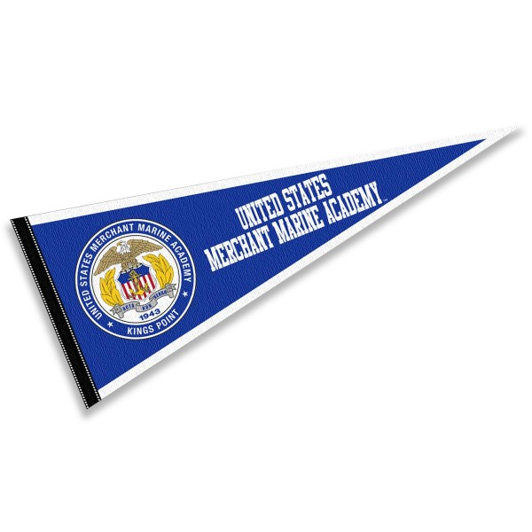 United States Merchant Marine Midshipmen Pennant consists of our full size sports pennant which measures 12x30 inches, is constructed of felt, is single sided imprinted, and offers a pennant sleeve for insertion of a pennant stick, if desired. This United States Merchant Marine Midshipmen Pennant Decorations is Officially Licensed by the selected university and the NCAA.