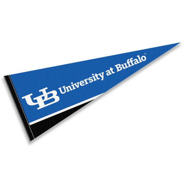 University at Buffalo Wordmark Pennant consists of our full size sports pennant which measures 12x30 inches, is constructed of felt, is single sided imprinted, and offers a pennant sleeve for insertion of a pennant stick, if desired. This University at Buffalo Wordmark Pennant Decorations is Officially Licensed by the selected university and the NCAA.