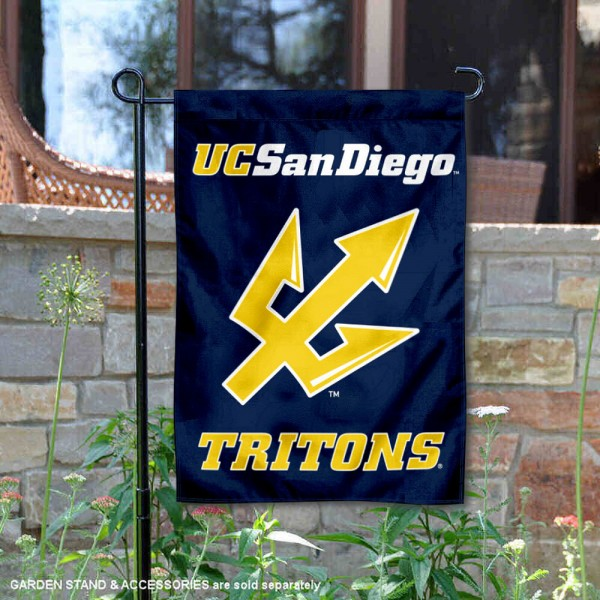 University California San Diego Tritons Garden Flag is 13x18 inches in size, is made of 2-layer polyester, screen printed university athletic logos and lettering, and is readable and viewable correctly on both sides. Available same day shipping, our University California San Diego Tritons Garden Flag is officially licensed and approved by the university and the NCAA.