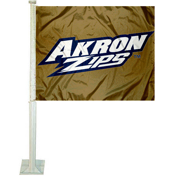 University of Akron Car Flag measures 12x15 inches, is constructed of sturdy 2 ply polyester, and has dye sublimated school logos which are readable and viewable correctly on both sides. University of Akron Car Flag is officially licensed by the NCAA and selected university.