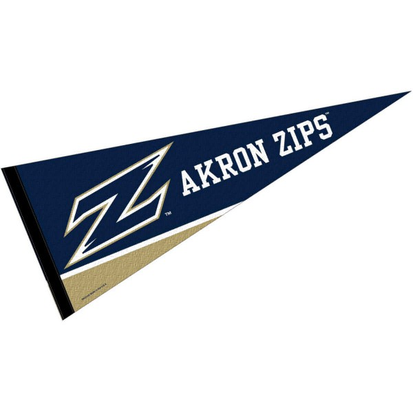 University of Akron Felt Pennant consists of our full size sports pennant which measures 12x30 inches, is constructed of felt, is single sided imprinted, and offers a pennant sleeve for insertion of a pennant stick, if desired. This Zips Felt Pennant is officially licensed by the selected university and the NCAA.