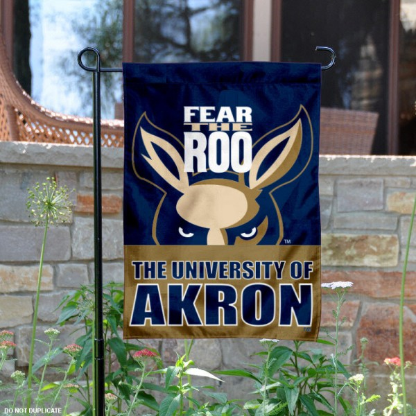 University of Akron Garden Flag is 13x18 inches in size, is made of 2-layer polyester, screen printed University of Akron athletic logos and lettering. Available with Same Day Express Shipping, Our University of Akron Garden Flag is officially licensed and approved by University of Akron and the NCAA.