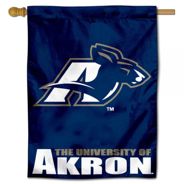 "University of Akron Zips House Flag is constructed of polyester material, is a vertical house flag, measures 30""x40"", offers screen printed athletic insignias, and has a top pole sleeve to hang vertically. Our University of Akron Zips House Flag is Officially Licensed by University of Akron Zips and NCAA."