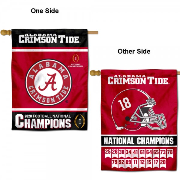 University of Alabama 18x Times and 2020 Logo National Champions Double Sided House Flag is a vertical house flag which measures 30x40 inches, is made of 2 ply 100% polyester, offers screen printed NCAA team insignias, and has a top pole sleeve to hang vertically. Our University of Alabama 18x Times and 2020 Logo National Champions Double Sided House Flag is officially licensed by the selected university and the NCAA.
