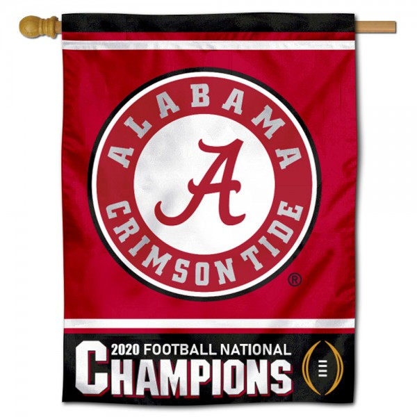 """University of Alabama 2020 Football National Champions Banner Flag is constructed of polyester material, is a vertical house flag, measures 30""""x40"""", offers screen printed athletic insignias, and has a top pole sleeve to hang vertically. Our University of Alabama 2020 Football National Champions Banner Flag is Officially Licensed by University of Alabama and NCAA."""