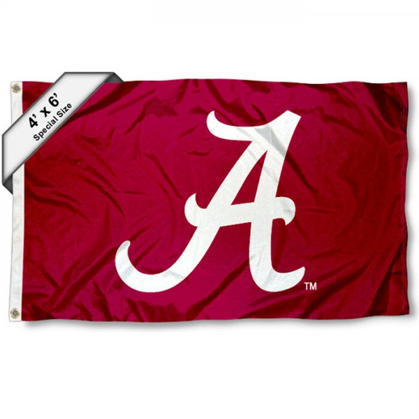University of Alabama 4x6 Flag measures a huge 4x6 feet, is made of 100% polyester, offers quadruple stitched flyends, has two metal grommets, and offers screen printed NCAA team logos and insignias. Our University of Alabama 4x6 Flag is officially licensed by the selected university and NCAA.