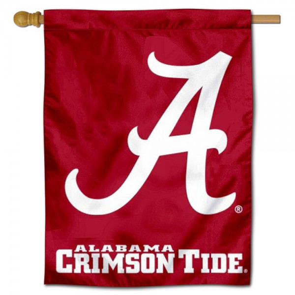 "University of Alabama A House Flag is constructed of polyester material, is a vertical house flag, measures 30""x40"", offers screen printed athletic insignias, and has a top pole sleeve to hang vertically. Our University of Alabama A House Flag is Officially Licensed by University of Alabama A and NCAA."