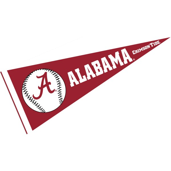 University of Alabama Baseball Pennant consists of our full size sports pennant which measures 12x30 inches, is constructed of felt, is single sided imprinted, and offers a pennant sleeve for insertion of a pennant stick, if desired. This Alabama Crimson Tide Pennant Decorations is Officially Licensed by the selected university and the NCAA.