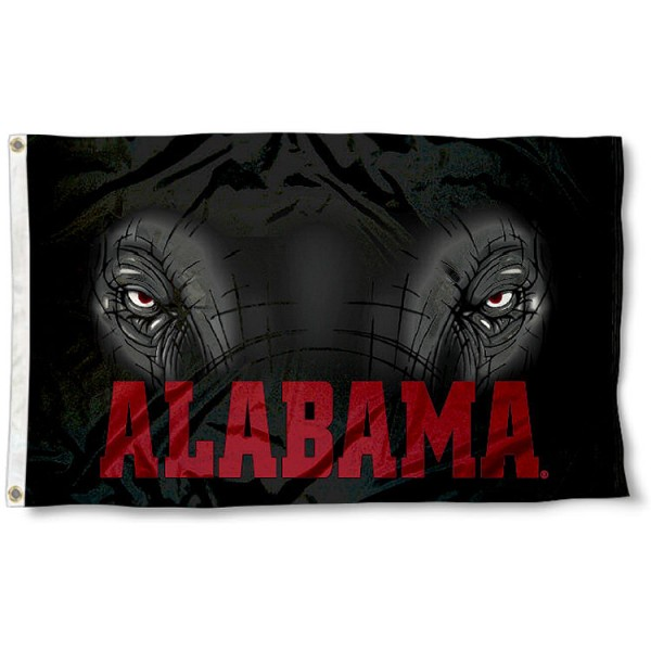 University of Alabama Big Al Flag measures 3'x5', is made of 100% poly, has quadruple stitched sewing, two metal grommets, and has double sided University of Alabama logos. Our University of Alabama Big Al Flag is officially licensed by the selected university and the NCAA