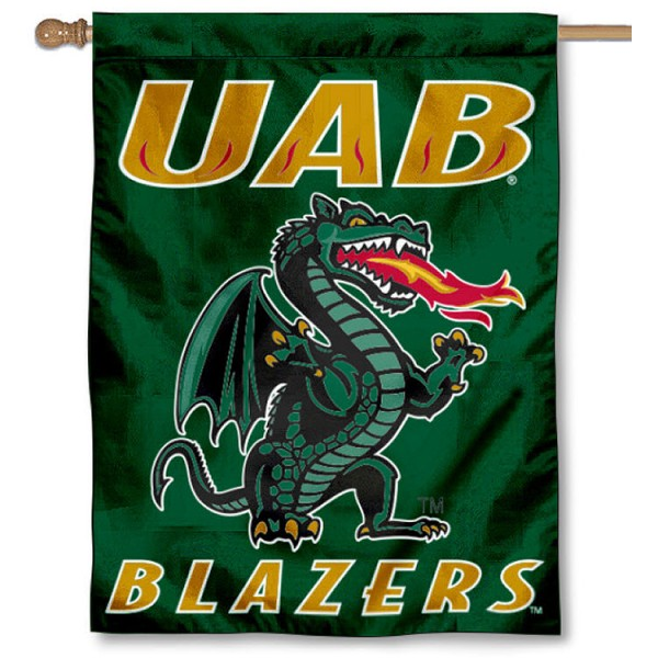 University of Alabama Birmingham House Flag is a vertical house flag which measures 30x40 inches, is made of 2 ply 100% polyester, offers dye sublimated NCAA team insignias, and has a top pole sleeve to hang vertically. Our University of Alabama Birmingham House Flag is officially licensed by the selected university and the NCAA.