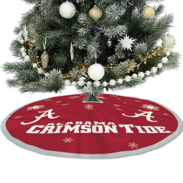 University of Alabama Crimson Tide Christmas Tree Skirt measures 56 inches circle, is made of 150d polyester, has a contrasting color border. Each college xmas tree skirt includes Officially Licensed Logos and Insignias.