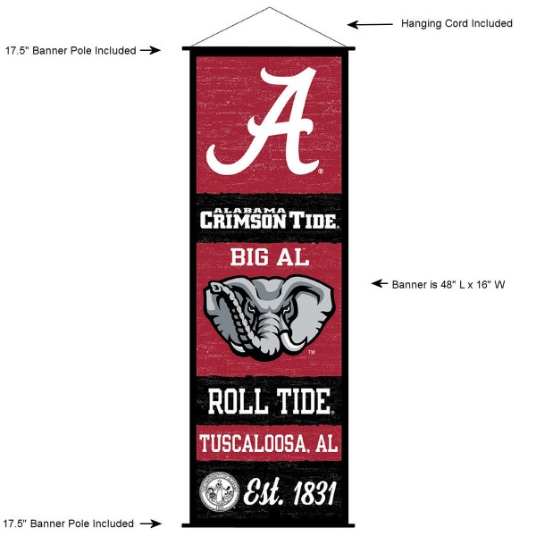 "This ""ready to hang"" University of Alabama Decor and Banner is made of polyester material, measures a large 17.5"" x 48"", offers screen printed athletic logos, and includes both top and bottom 3/4"" diameter plastic banner poles and hanging cord. Our University of Alabama D�cor and Banner is Officially Licensed by the selected college and NCAA."