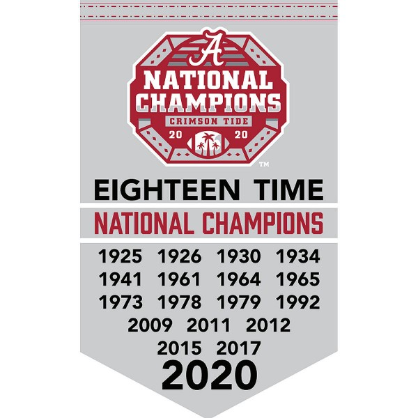 University of Alabama Eighteen Time Football National Champions Banner consists of our sports dynasty year banner which measures 15x24 inches, is constructed of rigid felt, is single sided imprinted, and offers a pennant sleeve for insertion of a pennant stick, if desired. This sports banner is a unique collectible and keepsake of the legacy game and is Officially Licensed and University, School, and College Approved.