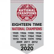 University of Alabama Eighteen Time Football National Champions Banner