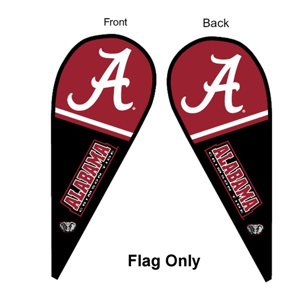 University of Alabama Feather Flag is 9 feet by 3 feet and is a tall 10' when fully assembled. The feather flag is made of thick polyester and is readable and viewable on both sides. The screen printed Alabama Crimson Tide double sided logos are NCAA Officially Licensed and is Team and University approved.