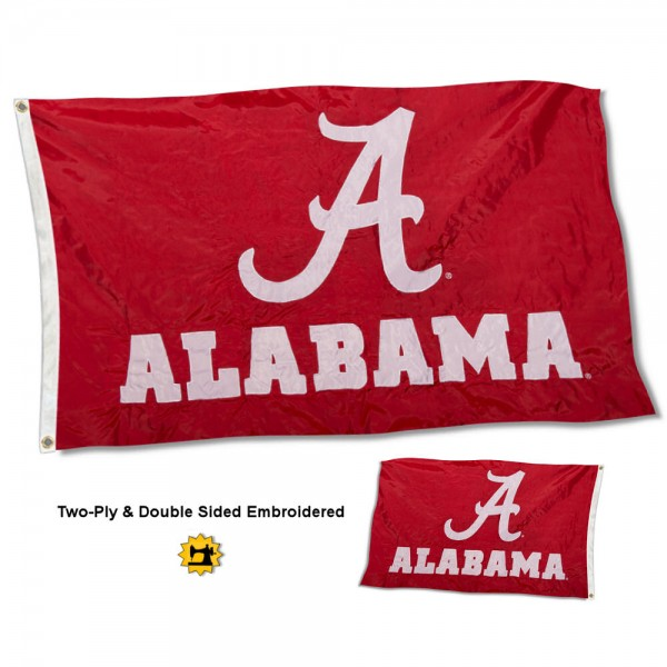 University of Alabama Flag measures 3'x5' in size, is made of 2 layer embroidered 100% nylon, has quadruple stitched fly ends for durability, and is viewable and readable correctly on both sides. Our University of Alabama Flag is officially licensed by the university, school, and the NCAA