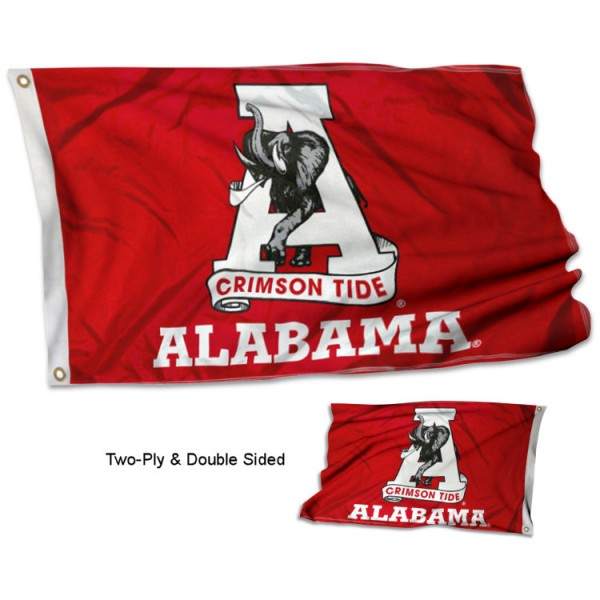 University of Alabama Flag - Throwback measures 3'x5', is made of 2 layer 100% polyester, has quadruple stitched flyends for durability, and is readable correctly on both sides. Our University of Alabama Flag - Throwback is officially licensed by the university, school, and the NCAA
