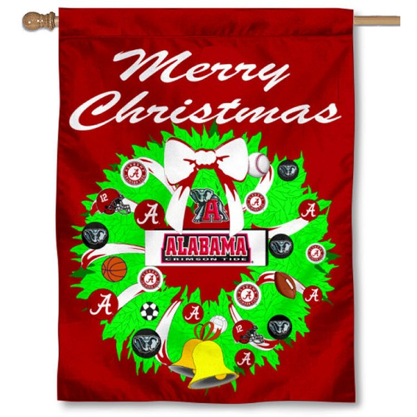 University of Alabama Holiday Flag is a decorative house flag, 30x40 inches, made of 100% polyester, Holiday NCAA team insignias, and has a top pole sleeve to hang vertically. Our University of Alabama Holiday Flag is officially licensed by the selected university and the NCAA.