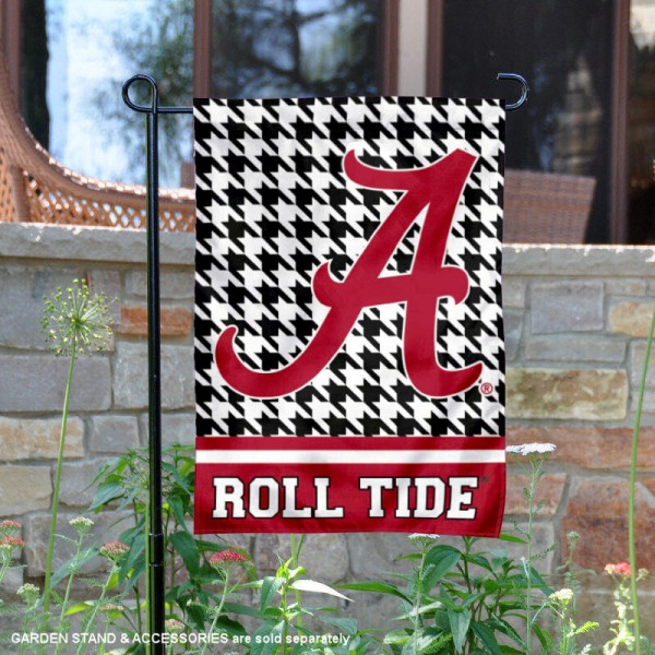 University of Alabama Houndstooth Garden Flag is 12.5x18 inches in size, is made of 2-layer polyester, screen printed university athletic logos and lettering, and is readable and viewable correctly on both sides. Available same day shipping, our University of Alabama Houndstooth Garden Flag is officially licensed and approved by the university and the NCAA.