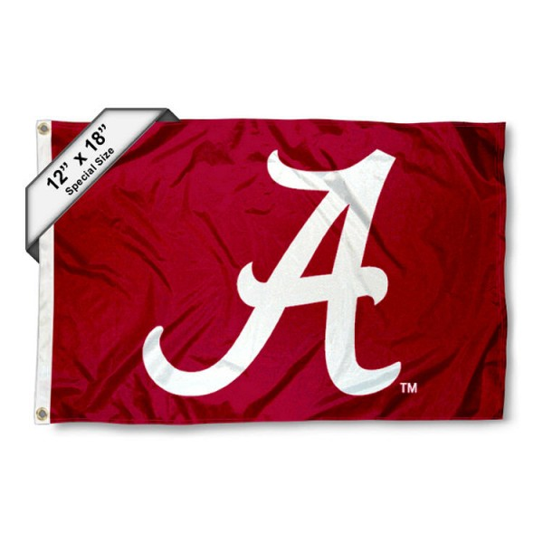 University of Alabama Mini Flag is 12x18 inches, polyester, offers quadruple stitched flyends for durability, has two metal grommets, and is double sided. Our mini flags for University of Alabama are licensed by the university and NCAA and can be used as a boat flag, motorcycle flag, golf cart flag, or ATV flag