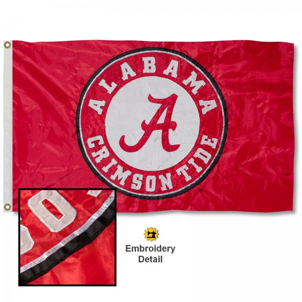 University of Alabama Nylon Embroidered Flag measures 3'x5', is made of 100% nylon, has quadruple flyends, two metal grommets, and has double sided appliqued and embroidered University logos. These University of Alabama 3x5 Flags are officially licensed by the selected university and the NCAA.