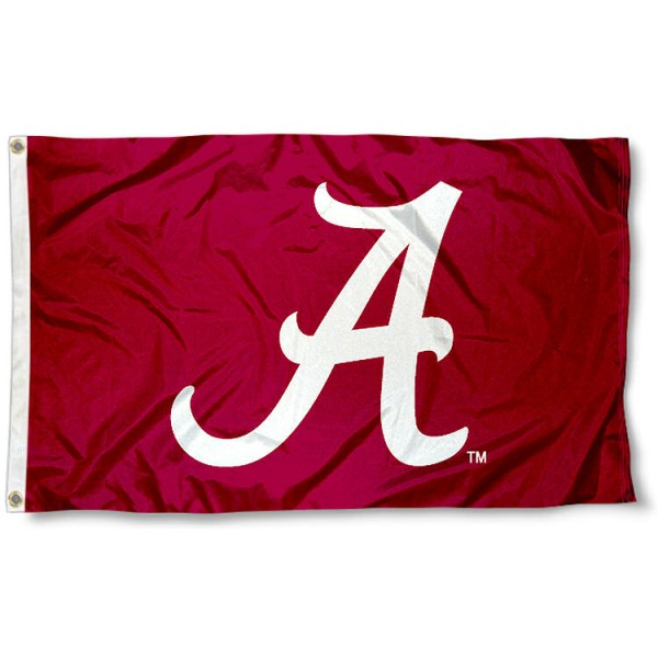 University of Alabama Polyester Flag measures 3'x5', is made of 100% poly, has quadruple stitched sewing, two metal grommets, and has double sided University of Alabama logos. Our University of Alabama Polyester Flag is officially licensed by the selected university and the NCAA