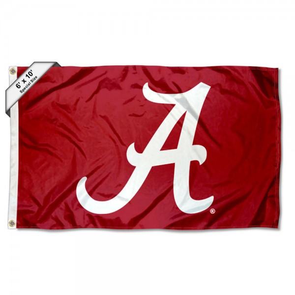 University of Alabama Script A Large 6'x10' Flag measures 6x10 feet, is made of thick poly, has quadruple-stitched fly ends, and University of Alabama logos are screen printed into the University of Alabama Script A Large 6'x10' Flag. This University of Alabama Script A Large 6'x10' Flag is officially licensed by and the NCAA.
