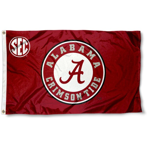 University of Alabama SEC Flag measures 3'x5', is made of 100% poly, has quadruple stitched sewing, two metal grommets, and has double sided Team University logos. Our University of Alabama SEC Flag is officially licensed by the selected university and the NCAA.