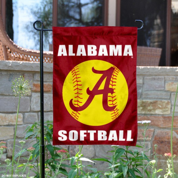 University of Alabama Softball Yard Flag is 13x18 inches in size, is made of 2-layer polyester, screen printed Alabama Softball athletic logos and lettering. Available with Same Day Express Shipping, Our University of Alabama Softball Yard Flag is officially licensed and approved by Alabama Softball and the NCAA.