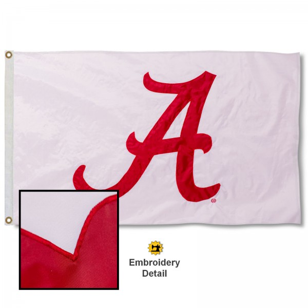 University of Alabama White Nylon Embroidered Flag measures 3'x5', is made of 100% nylon, has quadruple flyends, two metal grommets, and has double sided appliqued and embroidered University logos. These University of Alabama 3x5 Flags are officially licensed by the selected university and the NCAA.