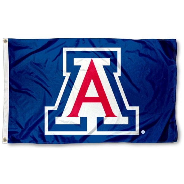University of Arizona Blue Flag is made of 100% nylon, offers double stitched flyends, measures 3x5 feet, has two metal grommets, and is viewable from both side with the opposite side being a reverse image. Our University of Arizona Blue Flag is officially licensed by the selected college and NCAA.