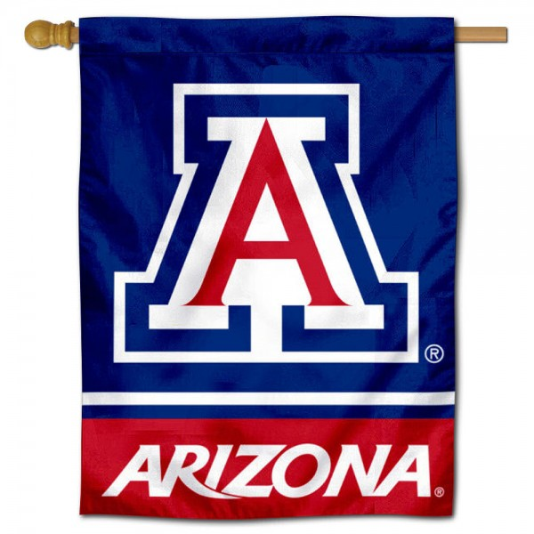 "University of Arizona Blue Logo Banner Flag is constructed of polyester material, is a vertical house flag, measures 30""x40"", offers screen printed athletic insignias, and has a top pole sleeve to hang vertically. Our University of Arizona Blue Logo Banner Flag is Officially Licensed by University of Arizona and NCAA."