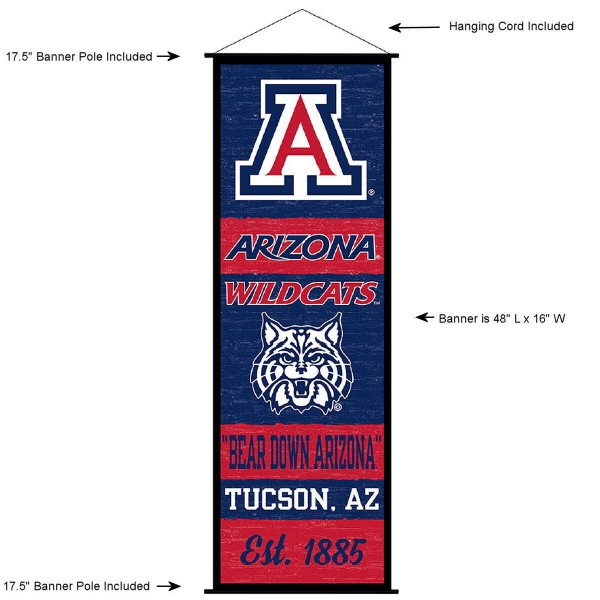 """This """"ready to hang"""" University of Arizona Decor and Banner is made of polyester material, measures a large 17.5"""" x 48"""", offers screen printed athletic logos, and includes both top and bottom 3/4"""" diameter plastic banner poles and hanging cord. Our University of Arizona D�cor and Banner is Officially Licensed by the selected college and NCAA."""