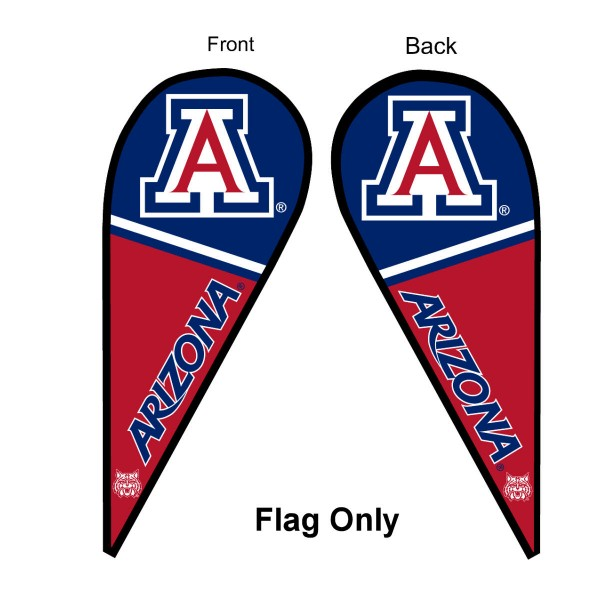 University of Arizona Feather Flag is 9 feet by 3 feet and is a tall 10' when fully assembled. The feather flag is made of thick polyester and is readable and viewable on both sides. The screen printed Arizona Wildcats double sided logos are NCAA Officially Licensed and is Team and University approved.
