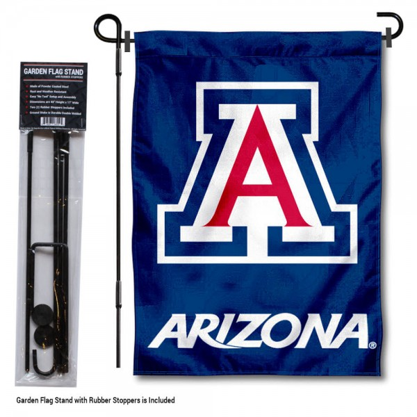 "University of Arizona Garden Flag and Stand kit includes our 13""x18"" garden banner which is made of 2 ply poly with liner and has screen printed licensed logos. Also, a 40""x17"" inch garden flag stand is included so your University of Arizona Garden Flag and Stand is ready to be displayed with no tools needed for setup. Fast Overnight Shipping is offered and the flag is Officially Licensed and Approved by the selected team."