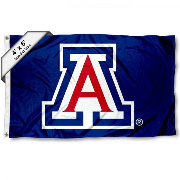University of Arizona Large 4x6 Flag measures 4x6 feet, is made thick woven polyester, has quadruple stitched flyends, two metal grommets, and offers screen printed NCAA University of Arizona Large athletic logos and insignias. Our University of Arizona Large 4x6 Flag is officially licensed by University of Arizona and the NCAA.
