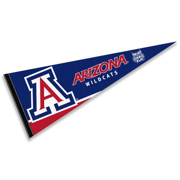 University of Arizona Pennant consists of our full size sports pennant which measures 12x30 inches, is constructed of felt, is single sided imprinted, and offers a pennant sleeve for insertion of a pennant stick, if desired. This U of A Wildcats Pennant Decorations is Officially Licensed by the selected university and the NCAA.