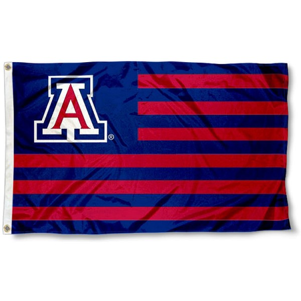 University of Arizona Stripes Flag measures 3'x5', is made of polyester, offers double stitched flyends for durability, has two metal grommets, and is viewable from both sides with a reverse image on the opposite side. Our University of Arizona Stripes Flag is officially licensed by the selected school university and the NCAA.