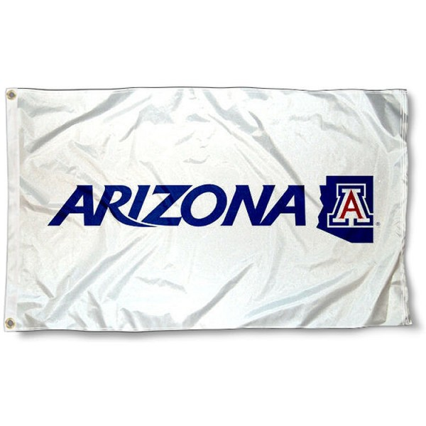 University of Arizona White Flag measures 3'x5', is made of 100% poly, has quadruple stitched sewing, two metal grommets, and has double sided U of A logos. Our University of Arizona White Flag is officially licensed by the selected university and the NCAA.